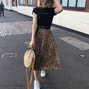 Zara Leopard Print Pleated Midi Skirt - S